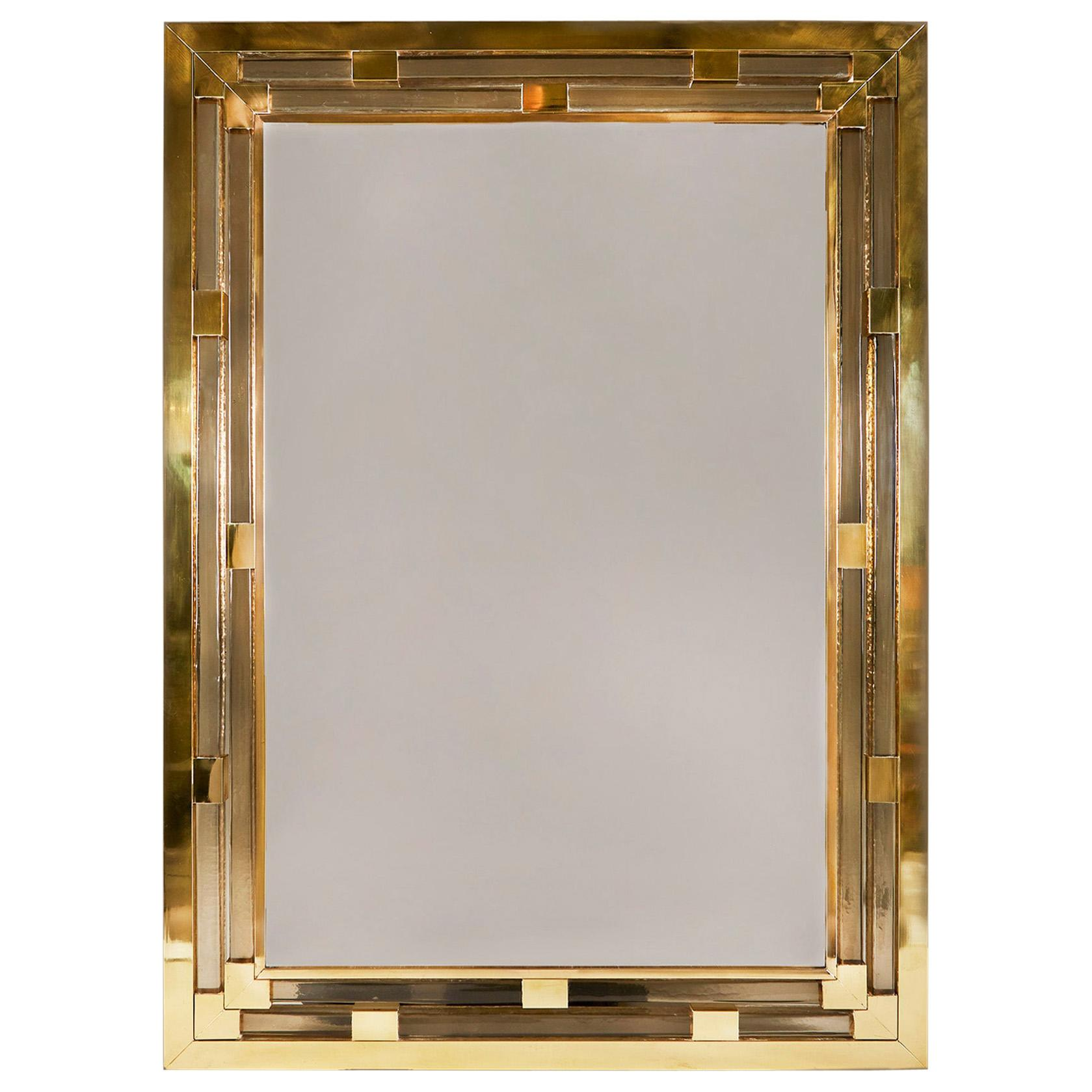 Contemporary Brass and Murano Glass Wall Mirror