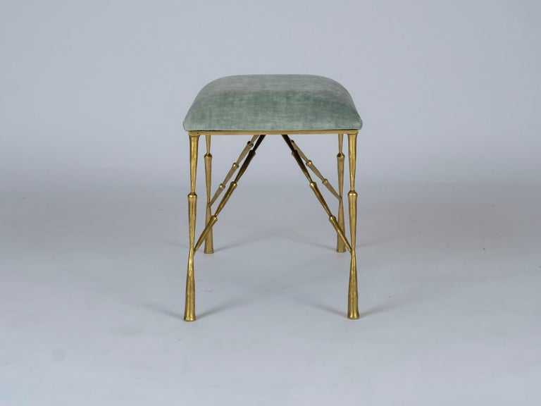 Modern Contemporary Brass Bamboo Bench For Sale