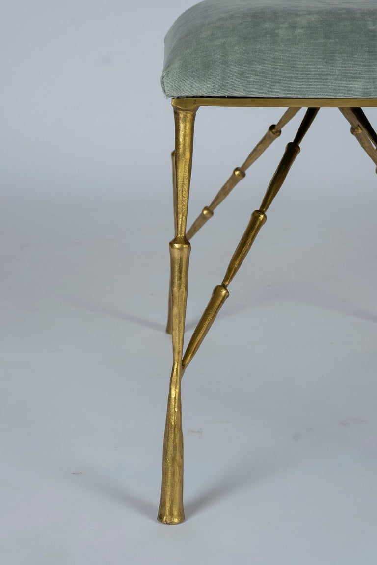 Contemporary Brass Bamboo Bench In New Condition For Sale In Houston, TX