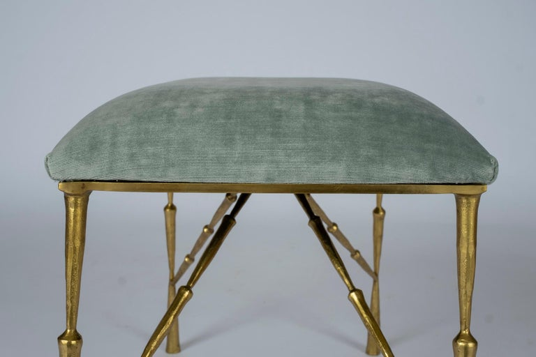 Contemporary Brass Bamboo Bench For Sale 1