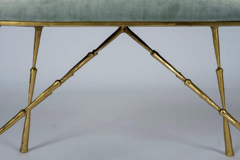 Contemporary Brass Bamboo Bench For Sale 2