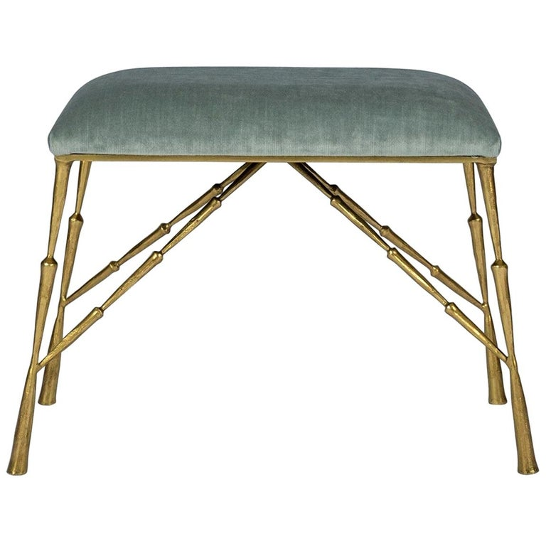 Contemporary Brass Bamboo Bench For Sale