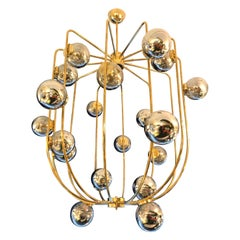 Contemporary Brass Chandelier Cage Murano Opaline Ball, Italy