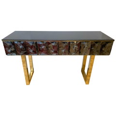 Contemporary Brass Console Grey Murano Glass, Italy