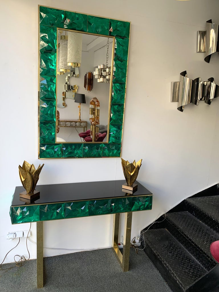 Contemporary Brass Console Murano Glass, Italy In New Condition For Sale In SAINT-OUEN, FR