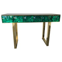 Contemporary Brass Console Murano Glass, Italy