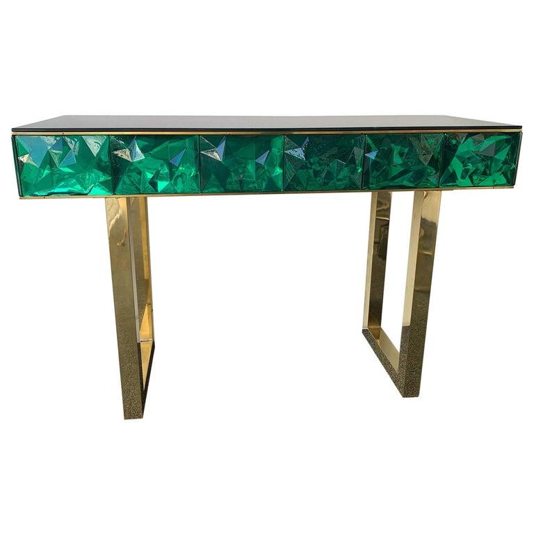 Contemporary Brass Console Murano Glass, Italy For Sale