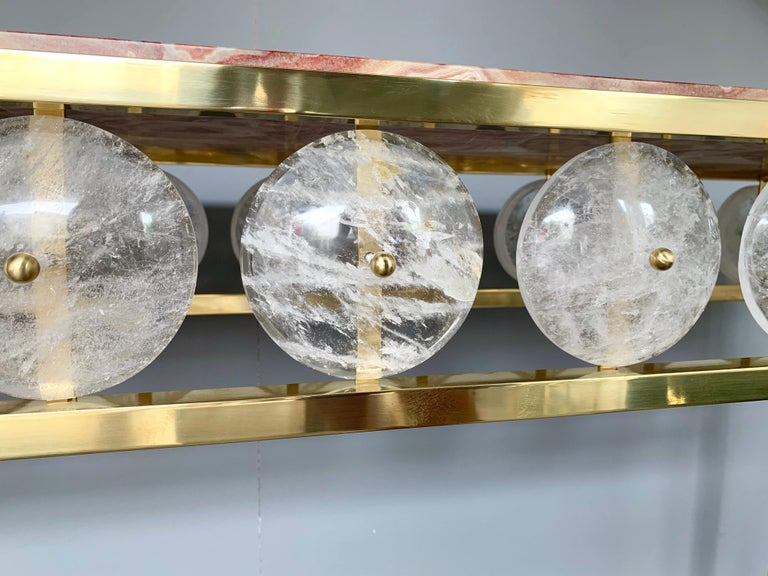 Contemporary Brass Console Rock Crystal Onix, Italy For Sale 6