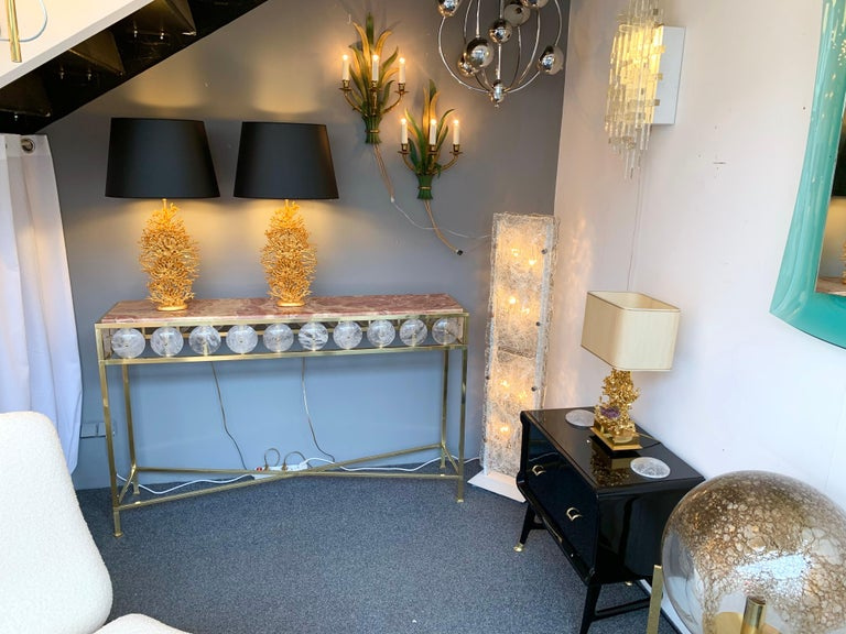 Contemporary Brass Console Rock Crystal Onix, Italy For Sale 8