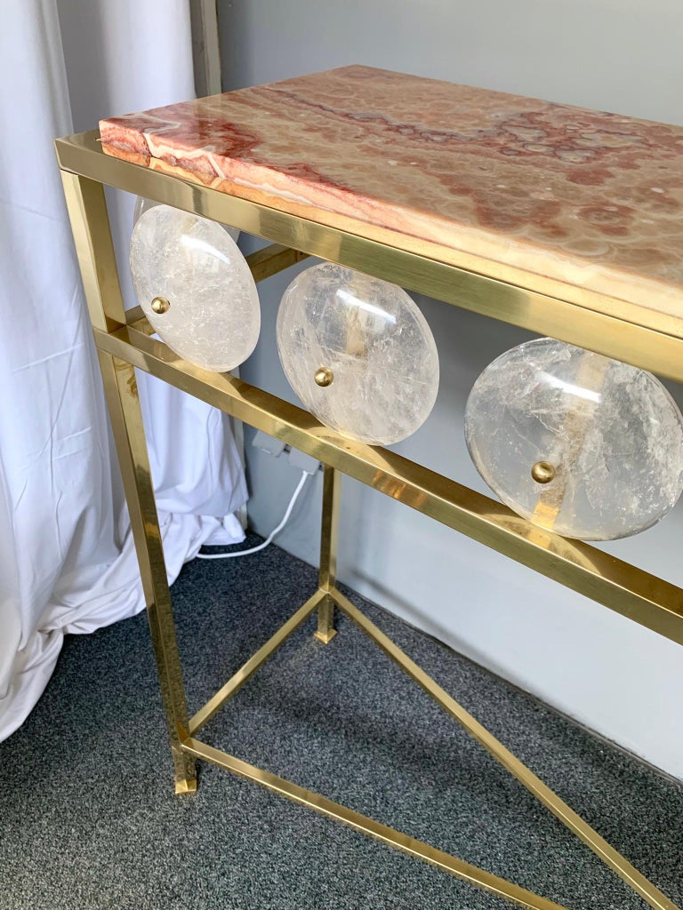 Contemporary Brass Console Rock Crystal Onix, Italy In New Condition For Sale In SAINT-OUEN, FR