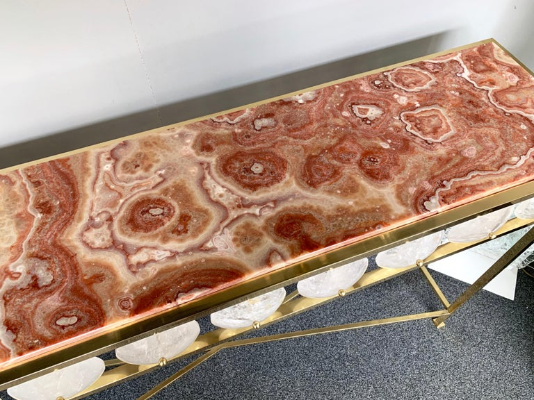 Contemporary Brass Console Rock Crystal Onix, Italy For Sale 2
