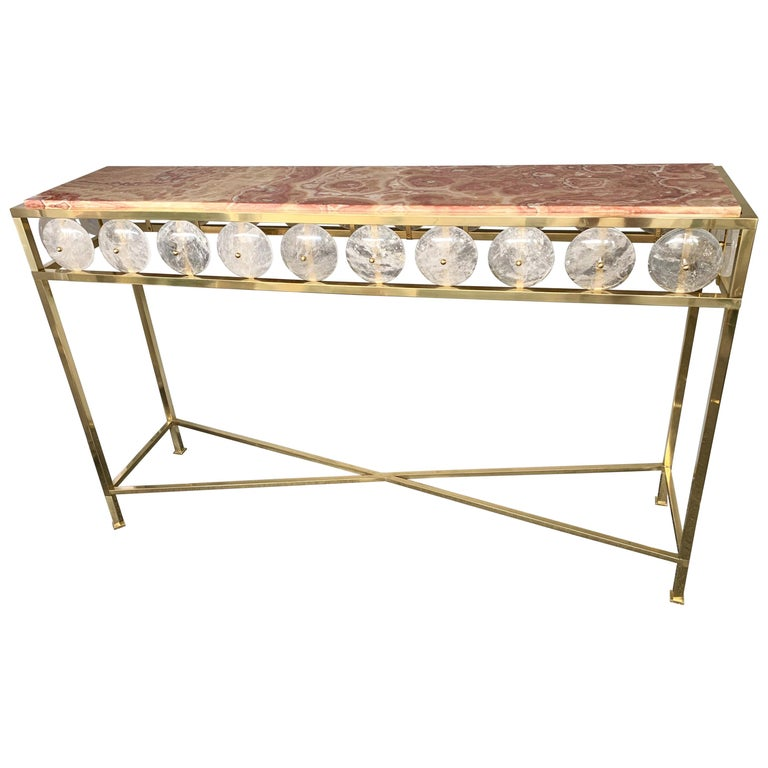 Contemporary Brass Console Rock Crystal Onix, Italy For Sale