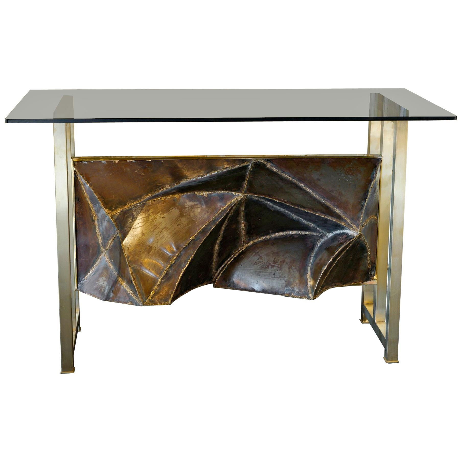 Contemporary Brass Console with 1970s Aluminum Frieze, Glass Top, Italy, 2019