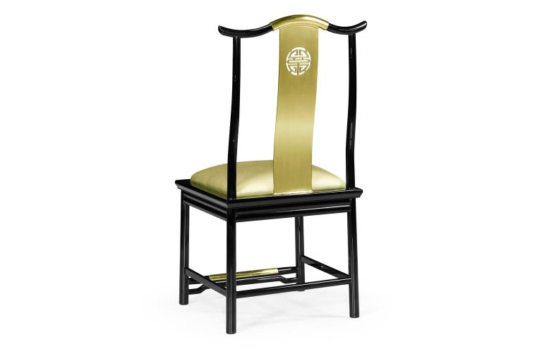 Modern Contemporary Brass Dining Chairs Upholstered in Gold Silk For Sale