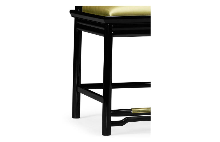 Contemporary Brass Dining Chairs Upholstered in Gold Silk In New Condition For Sale In New York, NY