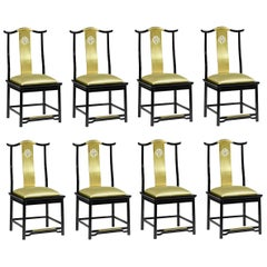 Contemporary Brass Dining Chairs Upholstered in Gold Silk