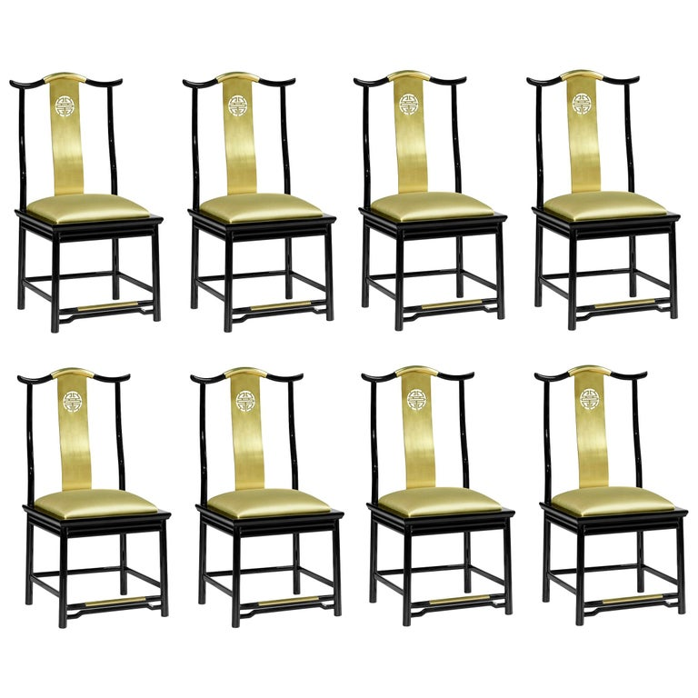 Contemporary Brass Dining Chairs Upholstered in Gold Silk For Sale