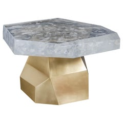 Contemporary Brass Facet Side Table with Crystal Top by Robert Kuo