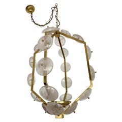 Contemporary Brass Lantern Chandelier Rock Crystal, Italy