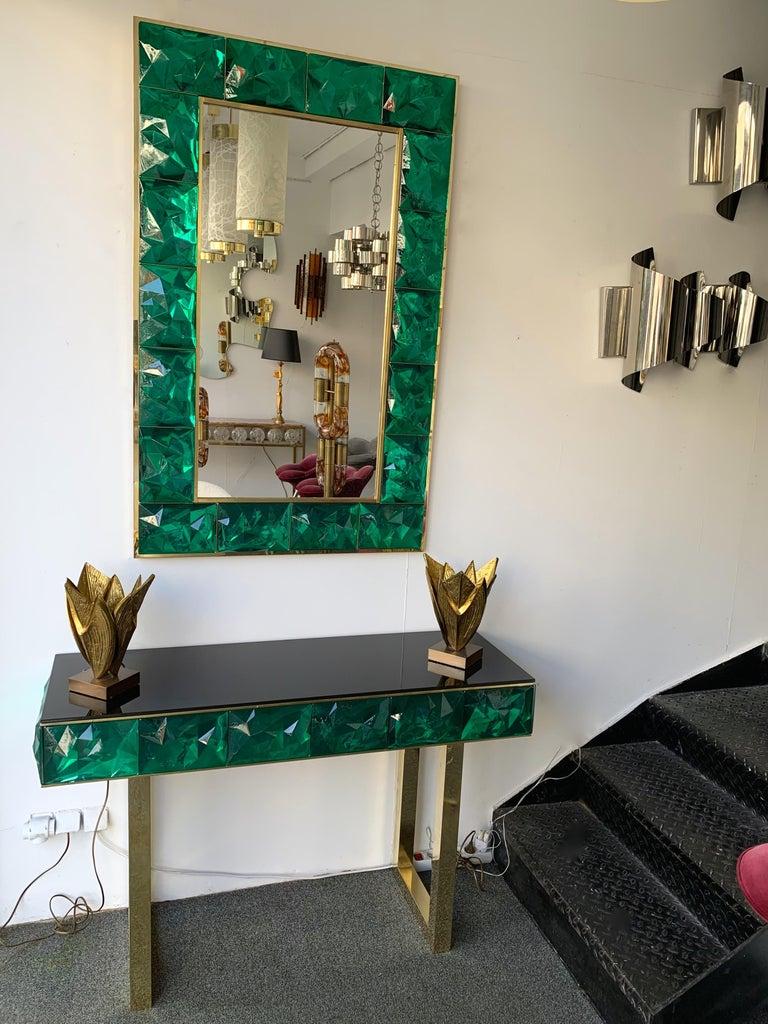 Contemporary Brass Mirror Console Set Murano Glass, Italy For Sale 5