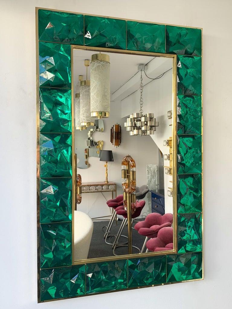 Contemporary Brass Mirror Console Set Murano Glass, Italy For Sale 6