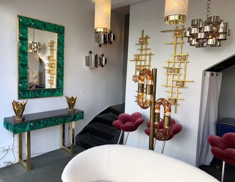 Contemporary Brass Mirror Console Set Murano Glass, Italy For Sale 7