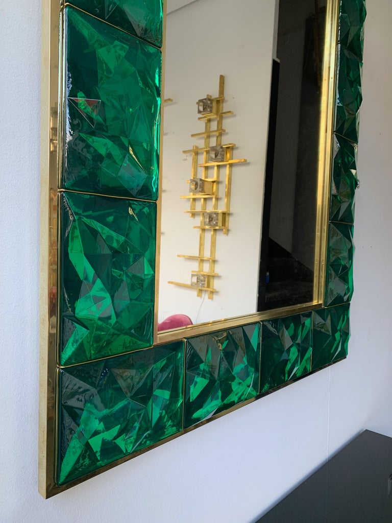 Mid-Century Modern Contemporary Brass Mirror Console Set Murano Glass, Italy For Sale