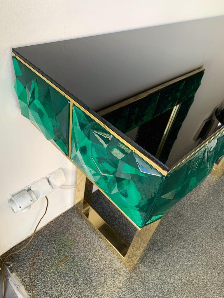 Contemporary Brass Mirror Console Set Murano Glass, Italy For Sale 1