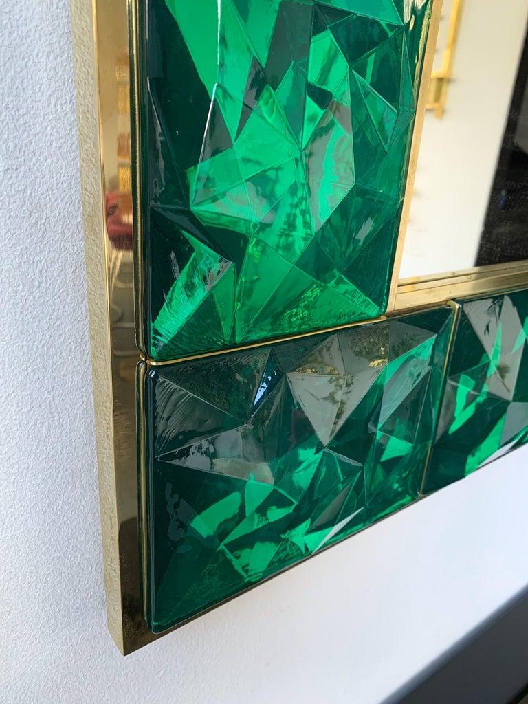 Contemporary Brass Mirror Console Set Murano Glass, Italy For Sale 4
