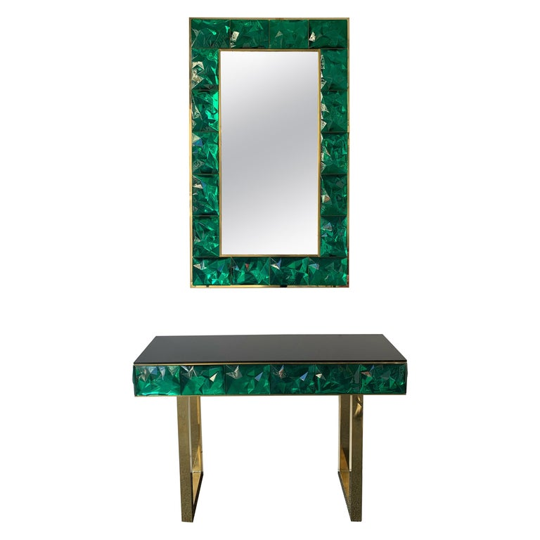 Contemporary Brass Mirror Console Set Murano Glass, Italy For Sale