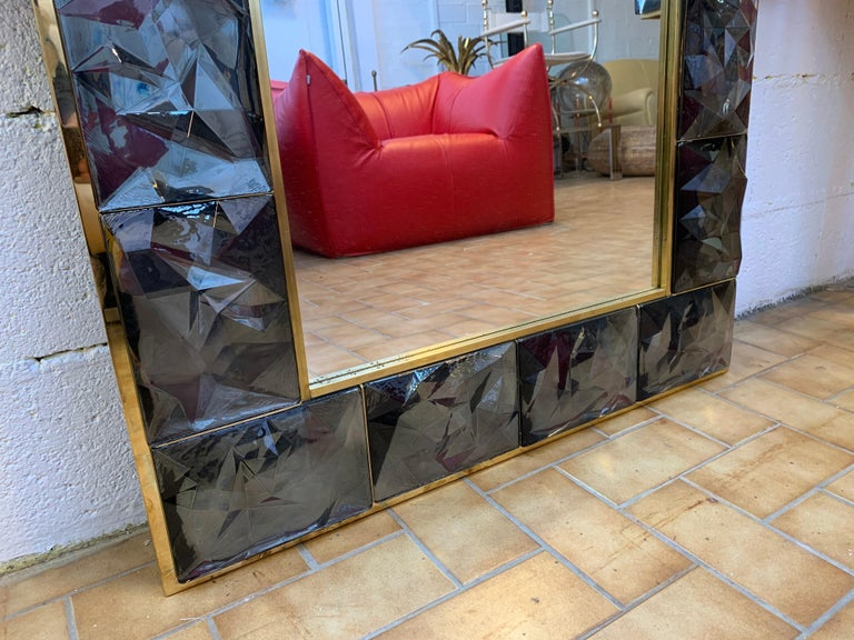 Contemporary Brass Mirror Gray Murano Glass, Italy For Sale 2
