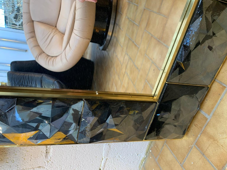 Contemporary Brass Mirror Gray Murano Glass, Italy For Sale 3