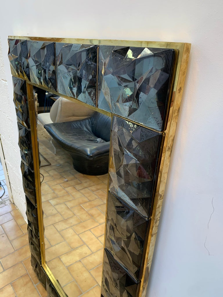 Contemporary Brass Mirror Gray Murano Glass, Italy For Sale 4