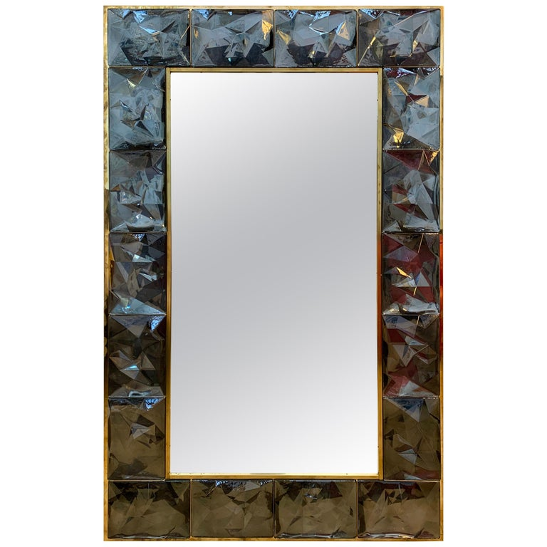 Contemporary Brass Mirror Gray Murano Glass, Italy For Sale