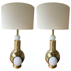 Contemporary Brass Pair of Eyes Ball Lamps, Italy