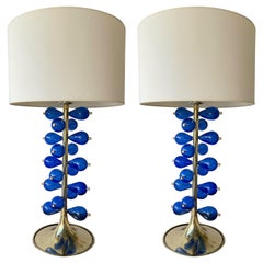 Contemporary Brass Pair of Lamps Blue Murano Glass Bubble Drop, Italy