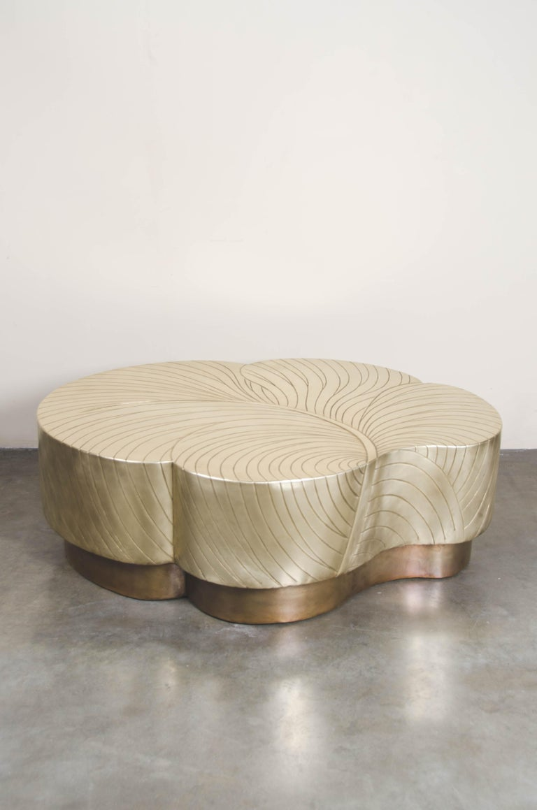Modern Contemporary Brass Repoussé Leaf Design Cocktail Table by Robert Kuo, Limited  For Sale