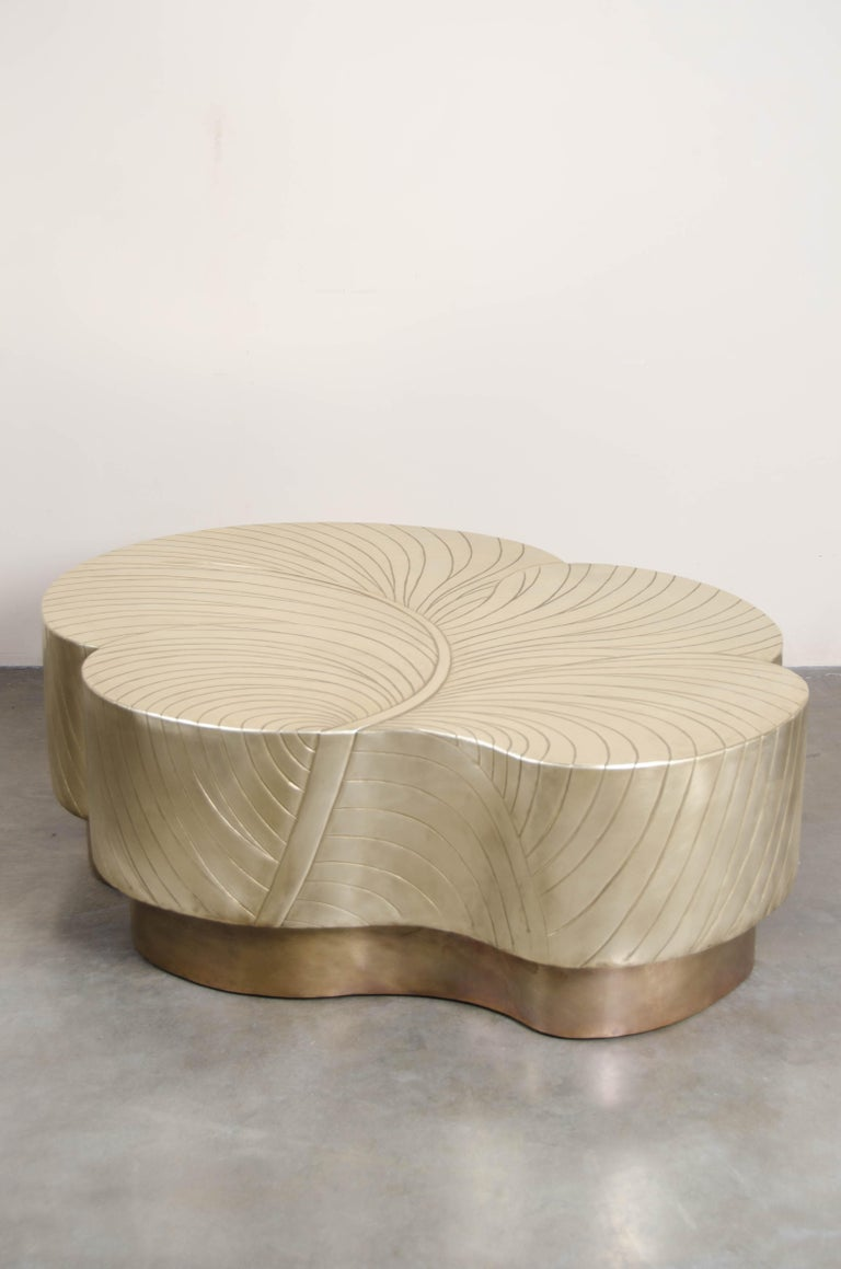 Contemporary Brass Repoussé Leaf Design Cocktail Table by Robert Kuo, Limited  In New Condition For Sale In West Hollywood, CA