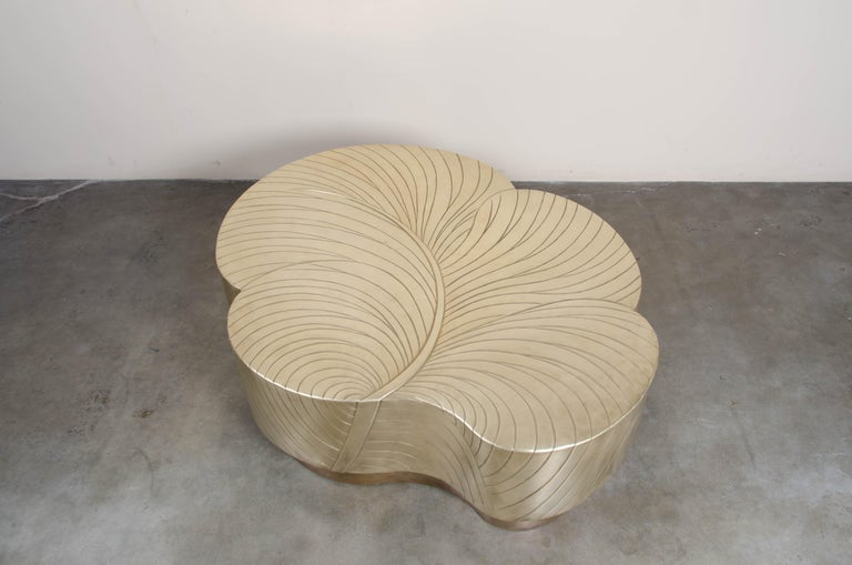 Contemporary Brass Repoussé Leaf Design Cocktail Table by Robert Kuo, Limited  For Sale 2