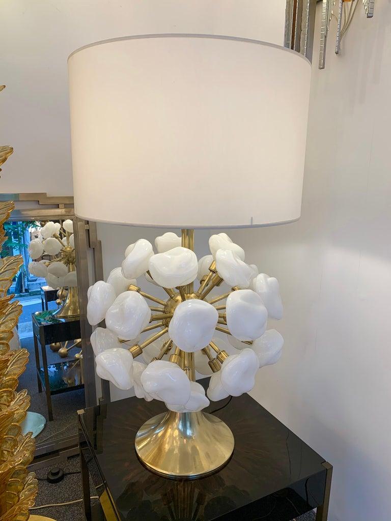 Mid-Century Modern Contemporary Brass Sputnik Murano Glass Cloud Lamp, Italy For Sale