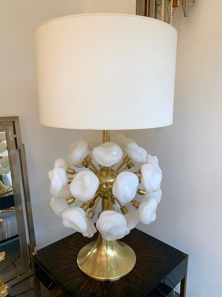 Italian Contemporary Brass Sputnik Murano Glass Cloud Lamp, Italy For Sale
