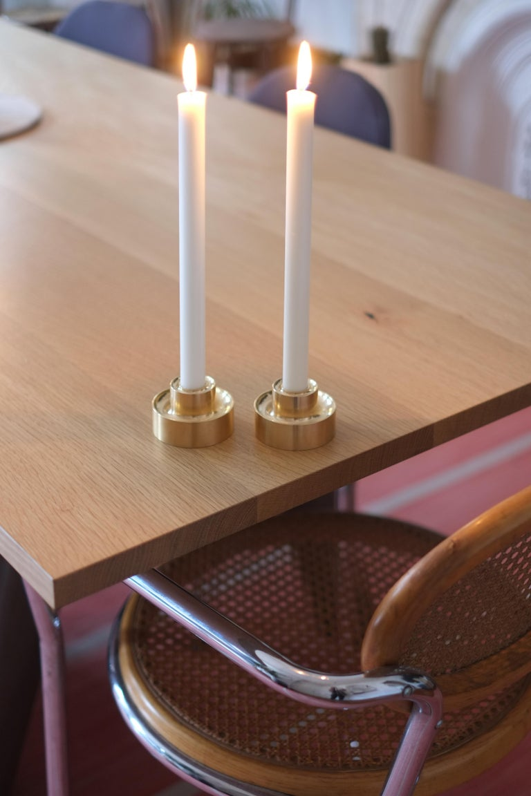 American Contemporary Brass Stacking Candle Holders by Fort Standard, in Stock For Sale