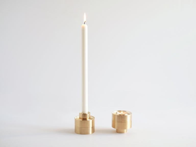 Contemporary Brass Stacking Candle Holders by Fort Standard, in Stock In New Condition For Sale In Brooklyn, NY