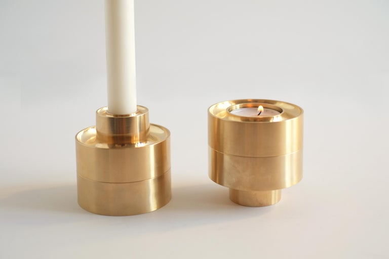 Contemporary Brass Stacking Candle Holders by Fort Standard, in Stock For Sale 3