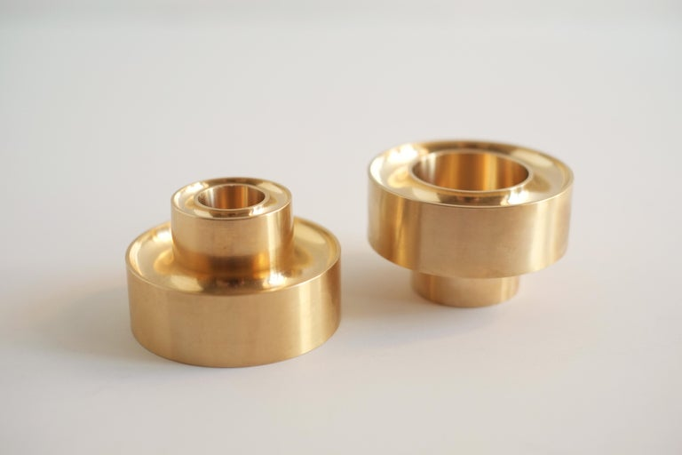 Contemporary Brass Stacking Candle Holders by Fort Standard, in Stock For Sale 4