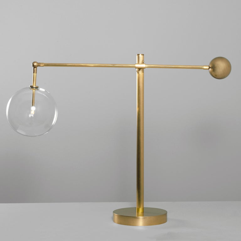 Modern Contemporary Brass Table Lamp by Schwung For Sale