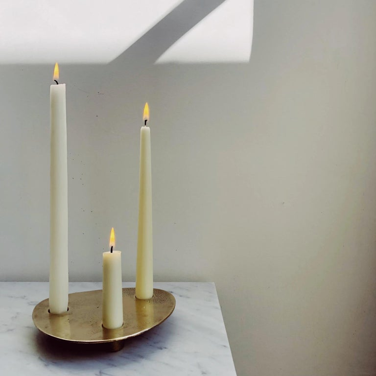 Contemporary Brass Trio Candle Holder Henry Wilson For Sale 3