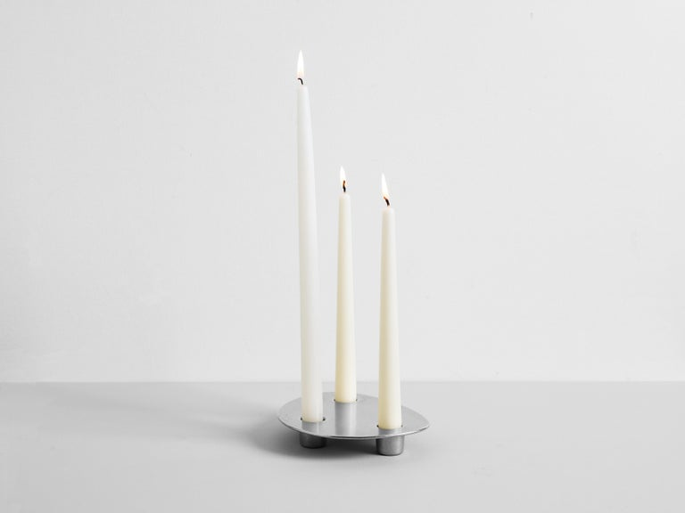 Contemporary Brass Trio Candle Holder Henry Wilson For Sale 4