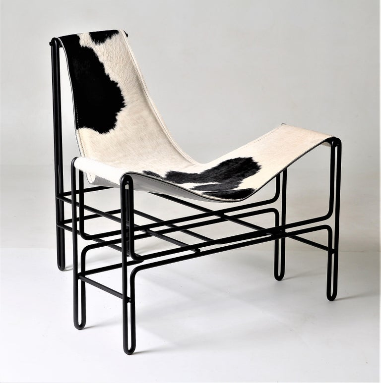 Contemporary Brazilian Armchair in Steel and Leather, ´Bia´ by Samuel Lamas For Sale 2