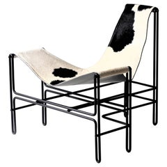 Contemporary Brazilian Armchair in Steel and Leather, ´Bia´ by Samuel Lamas